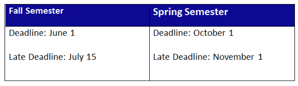 table of student deadlines